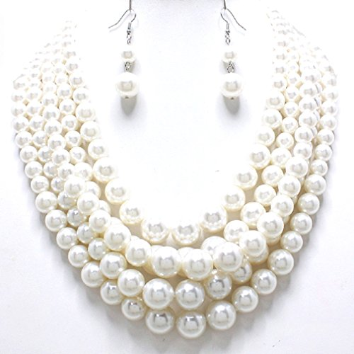 Affordable Wedding Jewelry Statement Layered Strands Cream Simulated Pearl Silver Chain Necklace Earrings Set Bridesmaid Gift