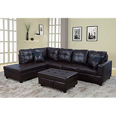 Beverly Fine Furniture F093A Left Facing Russes Sectional Sofa Set With Ottoman Brown