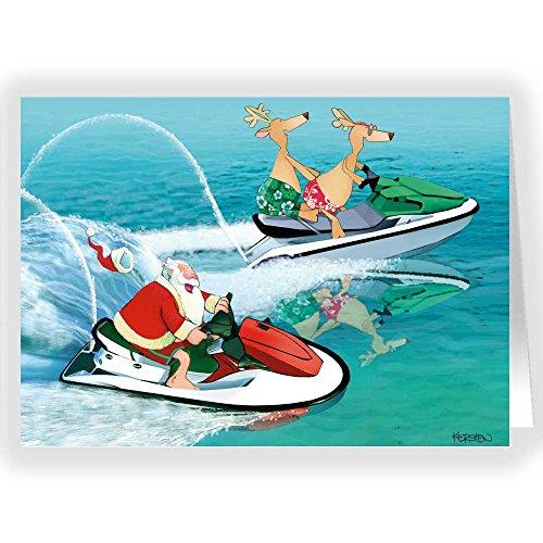 Jet Ski/Waverunner Santa Holiday Card 18 Cards & Envelopes ()
