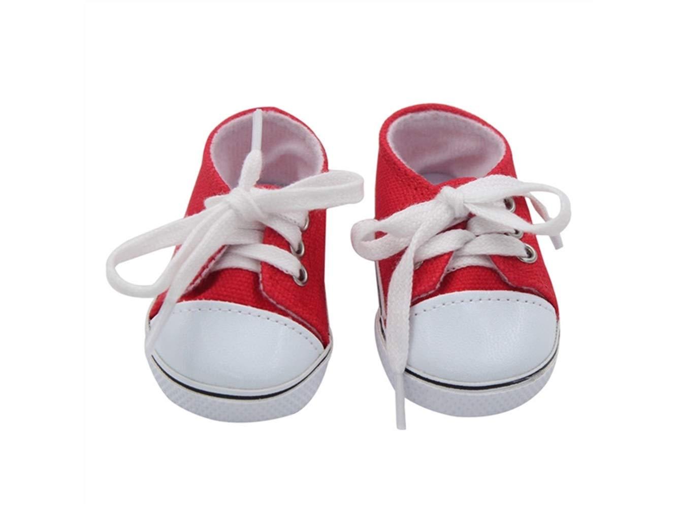 HFjingjing Moda 18 pollici American Girl Doll Lace-up scarpe di tela mini scarpe giocattolo bambola accessori (rosso) per decorare (Colore : Red, Dimensione : 7x3.6cm)