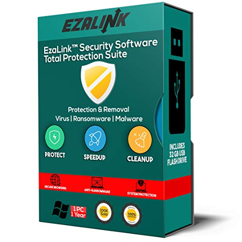 PC Security Software 2018 Antivirus Computer Protection {32Gb USB} | Firewall Clean Scan Malware Removal for Windows