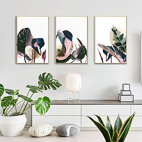 ArtbyHannah 3 Pack 12×16 Inch Framed Canvas Wall Art Decor with Tropical Botanical Plant Prints Watercolored Canvas…
