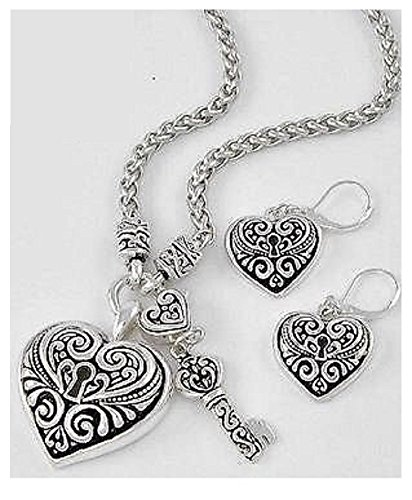 Key to My Heart Lovely Silver Filigree Necklace Set Gingers Jewels (Lock And Key Costume)