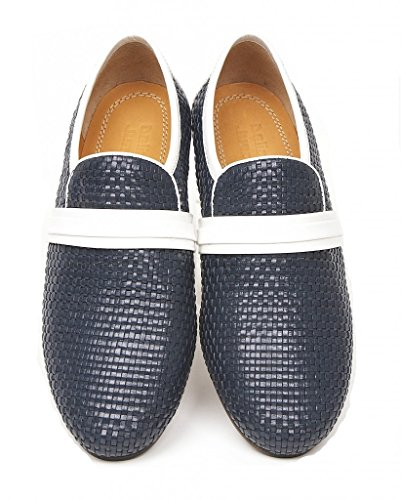 Delicious Junction The Steve Ellis Woven Leather Slip on by Navy &Amp; White