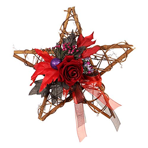 Overstep Halloween Wooden Five-Star Wall Hanging Artificial Flower Decoration Wreath Ghost Festival Black Pumpkin Handmade Decorations ()