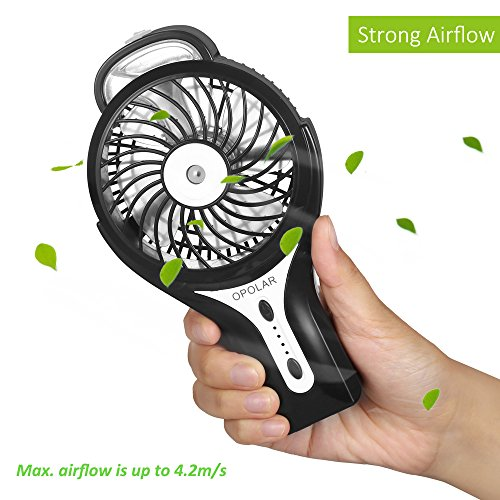 OPOLAR Handheld Misting Fan with Improved LG Battery, Mini USB Fan, 2200mAh Rechargeable Battery, 3 Speeds, for Persoal Outdoor Use - Black
