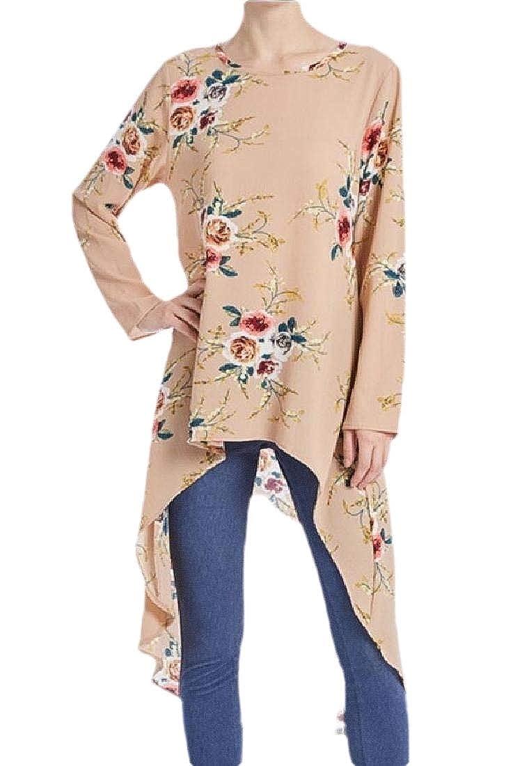 Women Fashion Muslim Round Neck Irregular Print Fashion High Low T-Shirt Tee Top