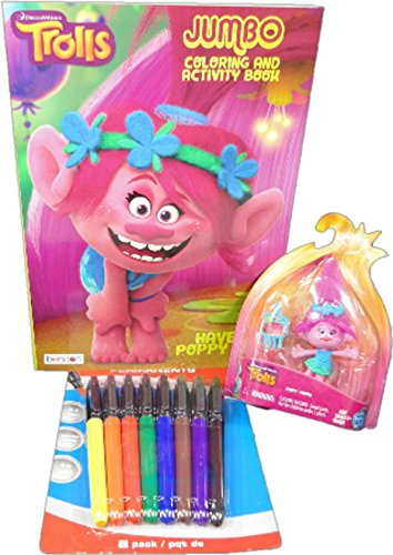 Troll Jumbo 96 Page Coloring Activity Book Matched with Colored Markers and a Bonus Collectible Poppy Figurine