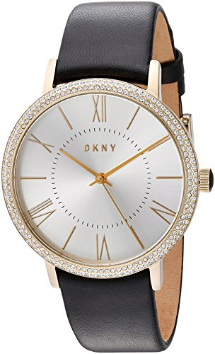 DKNY Women's Willoughby Stainless Steel Analog-Quartz Watch with Leather-Calfskin Strap, Black, 18 (Model: NY2544)