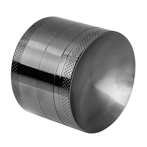 Anpro Premium Aluminium Pollen Grinder Crusher für getrocknete Tabak, Herb, Kräuter, Gewürze, Herb. Ø55mm, 4-teiliges Set mit Mini-Scraper, Schwarz