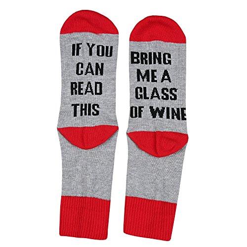 Bring Me Wine Socks, Beer Socks, Coffee Socks Luxury Cotton with Cool Designs! (Red)