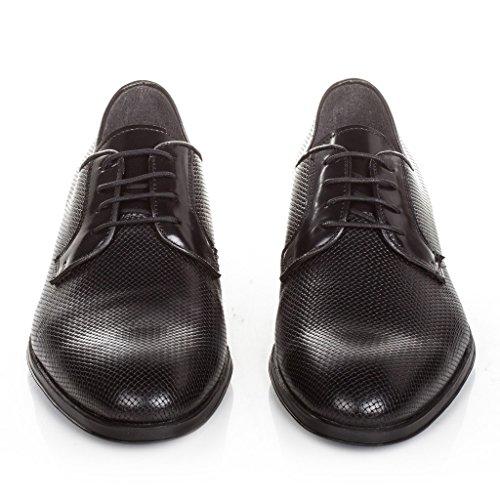 Castellanisimos Chaussures Blucher Noir Avec Lacets En Cuir Pour Hommes