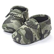 LIVEBOX Infant Baby Moccasins Soft Sole Army Camouflage Anti-Slip Tassels Prewalker Toddler Shoes (S: 0~6 Months, Camo Green)