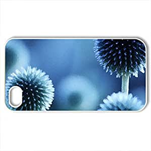 beautiful blue flower - Case Cover for iPhone 4 and 4s (Flowers Series, Watercolor style, White)