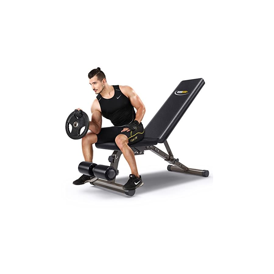 FEIERDUN Workout Benches,Adjustable Utility Weight Bench 882 lbs Capacity Versatility Foldable Incline/Decline Bench