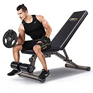 Heavy Workout Utility Weight Bench - 882 lbs Capacity,FEIERDUN Adjustable Gym Bench 5 Back Pad Positions from Flat/Incline/Decline with 3 Position