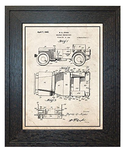 Military Vehicle Truck Patent Art Old Look Print with a Bord
