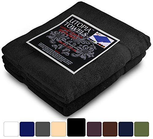 Utopia Towels 21-Inch-by-34-Inch Luxury Hotel-Spa Tub-Shower Bath Mat Floor Mat, 2 Pack, 100 Percent Ringspun Cotton, Luxury Size, Maximum Absorbency, Machine Washable, Black by Utopia Towels (Image #2)