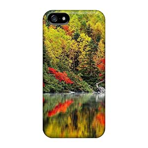 5/5s Scratch-proof Protection Case Cover For Iphone/ Hot Forest In Autumn Reflected In River Phone Case