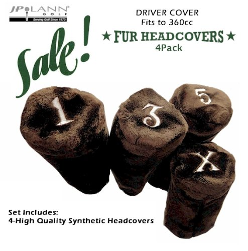 Fur Golf Club Headcovers - Brown - 4 Pack - Barrel Style *Fits Up to 360cc*