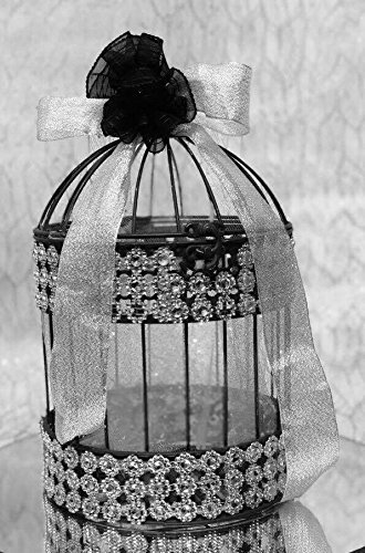 Black and Silver Birdcage Wedding Gift Card Holder