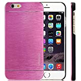 SALE! LIMITED STOCK,PREMIUM Slim Brushed Aluminum Alloy Case Iphone 6 6s Shock Impact Absorbent Bumper INO Metal PVC Skin Cover Motomo Pink