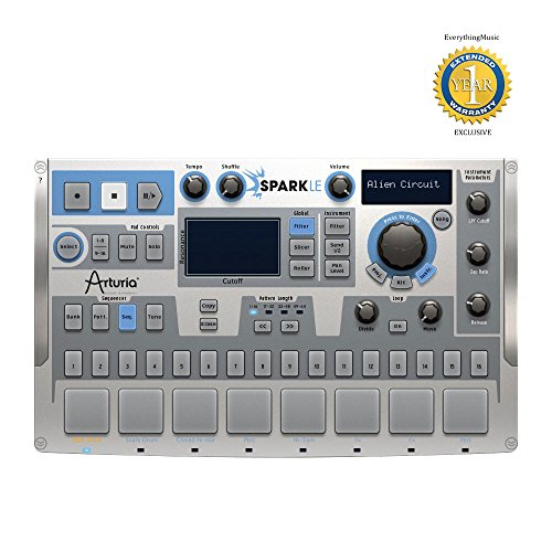 Arturia SparkLE 420101 Compact Hardware Software Drum Machine with a 64-step Sequencer, 8 Pads, Effects Pad, and 16-track Mixer with 1900+ Instruments and 180+ Kits