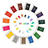 Lsushine Craft Ink Pad Stamps Partner Diy Color,15 Color Craft Ink Pad for Stamps, Paper, Wood Fabric (pack of 15)