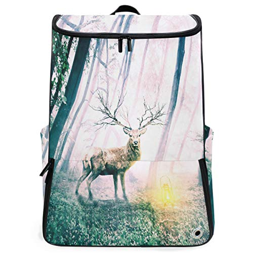 Basketball Mens Husky - S Husky Reindeer Oil Painting Sports Travel Backpack with Shoe Compartment Animal Woods Mysterious Gorgeous Fantasy For Man Multipurpose Hiking Daypacks Outdoor 3-Day Unisex 2040357