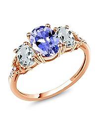 2.06 Ct Blue Tanzanite Sky Blue Aquamarine 10K Rose Gold Diamond Accent Ring