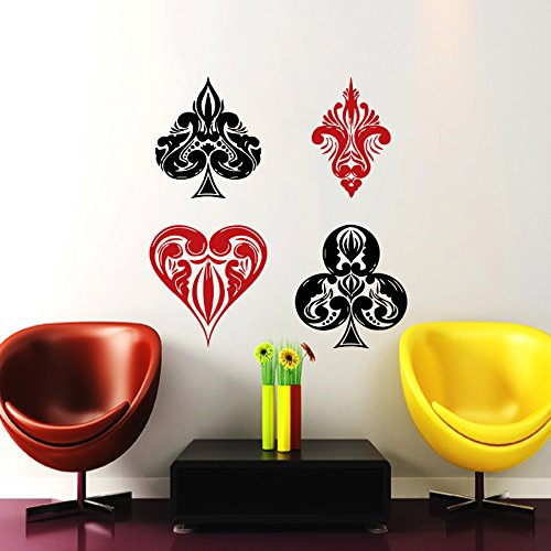 Wall Decals Poker Cards Colors Casino Decal Vinyl Sticker Home Decor Kitchen Interior Design Bedroom Window Decals Living Room Art Murals