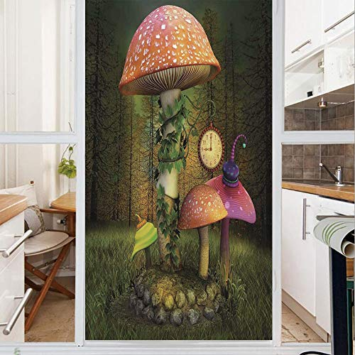 Decorative Window Film,No Glue Frosted Privacy Film,Stained Glass Door Film,Fiction Forest with Giant Mushrooms and Elves Magical Fairy Enchanted Image,for Home & Office,23.6In. by 59In Green Coral
