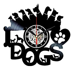 I Love Dogs Vinyl Record Wall Clock - Dog Lovers Gifts - Fun, Useful & Adorable Home Decor