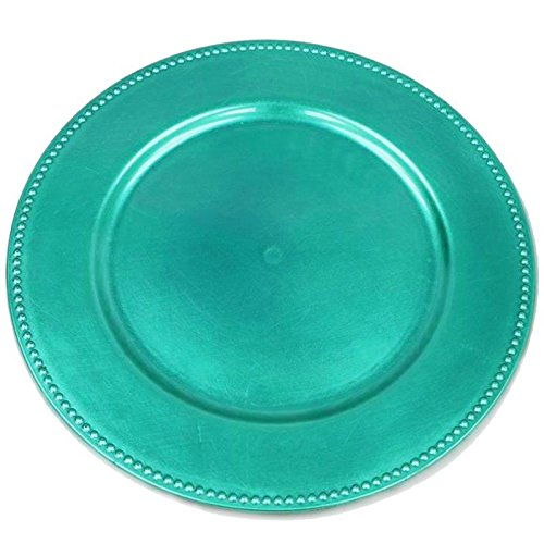 Turquoise Buffet Plate - BalsaCircle 6 pcs 13-Inch Turquoise Crystal Beaded Round Charger Plates - Dinner Wedding Supplies for all Holidays Decorations