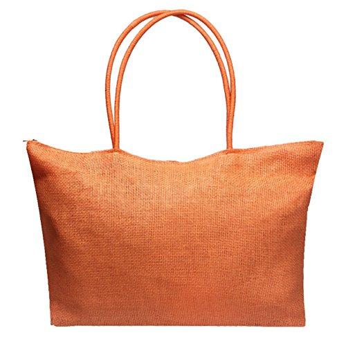 JESPER Simple Larger Capacity Leather Women Shoulder bag Handbag (Orange A, One_Size)