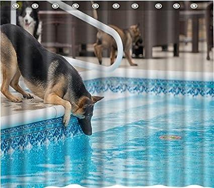 Nuevo elegante cortina de ducha de tela de poliéster perro bebida agua resistente al agua cortina