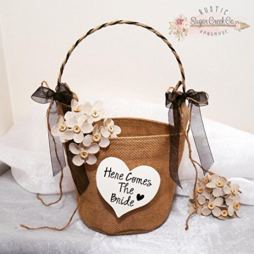 Here Comes The Bride Flower Girl Basket, Daddy Here Comes Mommy Flower Girl Basket, Wedding Flower Basket, Flower Girl, Burlap Flower Basket (Daddy Here Comes Mommy Flower Girl Basket)