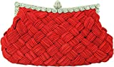 Chicastic Pleated and Braided Rhinestone studded Wedding Evening Bridal Bridesmaid Clutch Purse - Dark Red