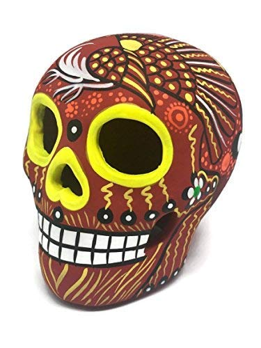(Matte Hand-Painted Ceramic Sugar Skull ~ Made in Mexico ~ Day of The Dead ~ Decor ~ Calavera ~ Dia de Los Muertos ~ Halloween 3