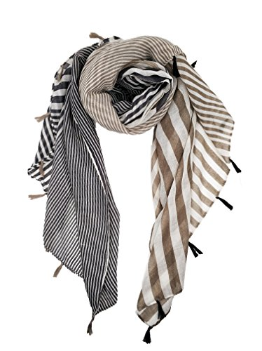 Scarf Striped Long (Lightweight Scarves: Fashion Vintage BLACK And WHITE Striped SHEER Scarf Zebra Print Shawl Wrap For Women 70x40)
