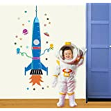 Createforlife Home Decoration Art Vinyl Mural Wall Sticker Decal Spaceship Rocket Height Chart Decal Paper