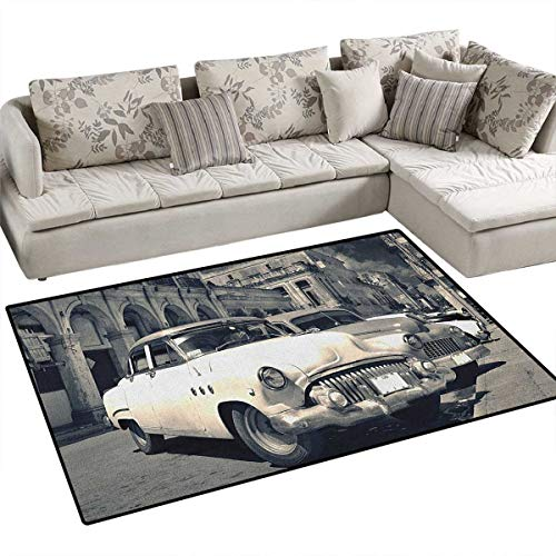 (Vintage Car,Floor Mat,Panoramic View of Shabby Old Havana Street with Vintage Classic American Cars,Area Rug,Grey Beige Size:48