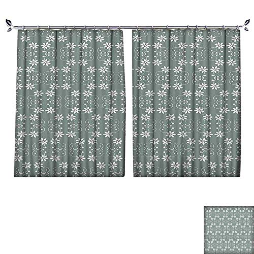 Thermal Insulated Drapes with hookBaroque Style Inspired Delicate Daisy Flower Petals and Dots Light Sage Green White Windproof Function,W63 xL63
