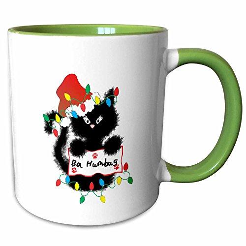 3dRose Charlyn Woodruff - CW Designs Holidays - Christmas - Cute Fuzzy Black Cat Ba Humbug Christmas Santa - 11oz Two-Tone Green Mug (mug_180668_7) (Ba Humbug)