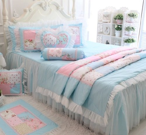 FADFAY Home Textile,New 2016,Beautiful Korean Pink Lace Ruffle Bedding Set,Cute Girls Fairy Princess Duvet Cover Bedding Set Full Queen King Size