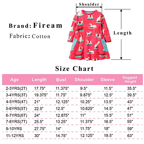 Fiream Girls Cotton Casual Longsleeve Cartoon Dresses (7T/7-8YRS, S0358) by Fiream (Image #3)