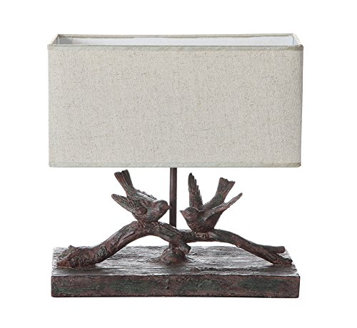 Bird Table Lamp - Creative Co-Op DE7675 Rustic Bird Lamp with Rectangle Shade