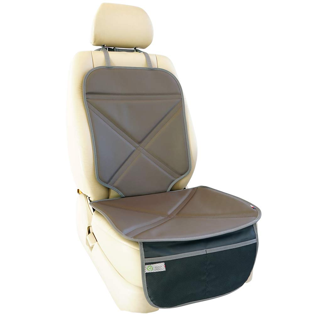 Viaviat Car Seat Protector with Thickest Padding - Best Coverage Available, Durable, Waterproof, Made of Leather , 2 Large Pockets for Handy Storage (Beige) Ltd.