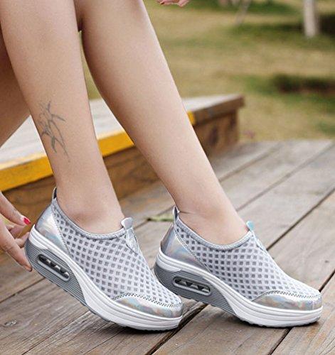 Grigio Pattini Zeppa bianco Platform Sportive Donna Argento Da Yiiquanan Fitness Traspirante Scarpe Ginnastica Mesh Rosa Sneaker PqxRnZwX
