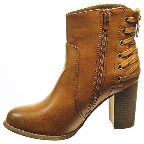 ff643fcfae20f Angkorly - Chaussure Mode Bottine Low Boots Femme Lacets Talon Haut Bloc 8  CM - Intérieur Fourrée  Amazon.fr  Chaussures et Sacs